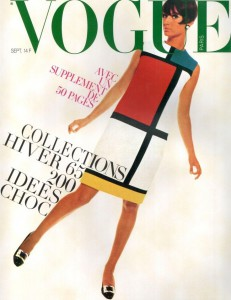 "iconic ""Mondrian dress"" by Yves Saint Laurent. Vogue Paris, September 1965. Photo by David Bailey"